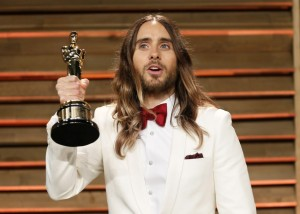 Jared Leto - Best Dressed Male. Loved the pop of burgundy against the white, his hair and attitude